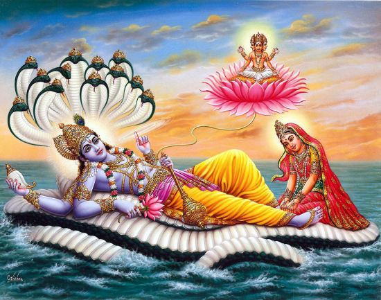 Maha Višnu leži na zmiji