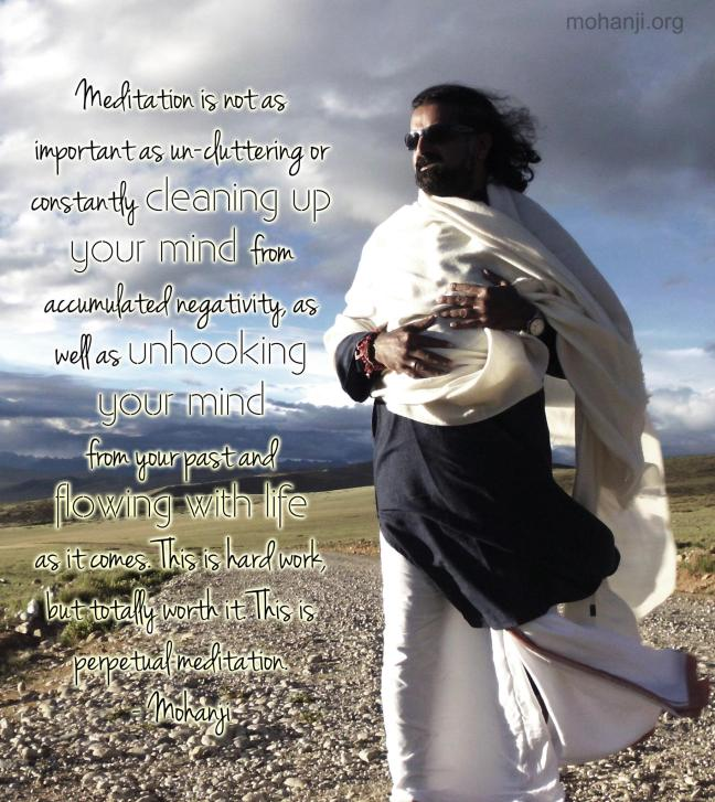 Meditacija nije toliko važna kao nenagomilavanje ili konstantno čišćenje uma od nagomilane negativnosti, kao i otkačinjanje uma od prošlosti i proticanje sa životom onako kako dolazi. To je težak posao, ali potpuno vredan truda. To je trajna meditacija. – Mohanđi –