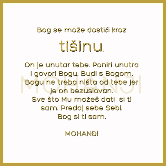 Mohanji quote in Serbian - God can be reached through silence